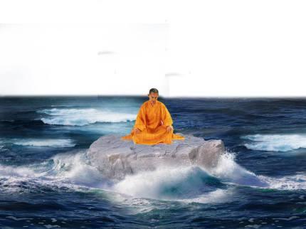 monje en peñon